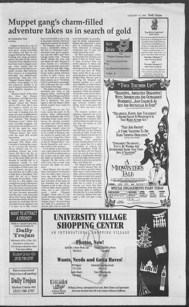 Daily Trojan, Vol. 127, No. 25, February 16, 1996