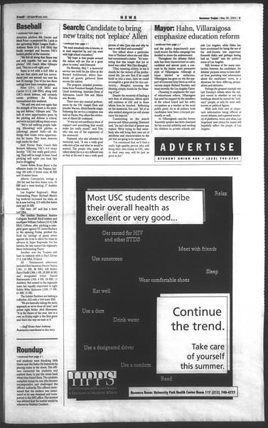 Daily Trojan, Vol. 143, No. 2, May 30, 2001