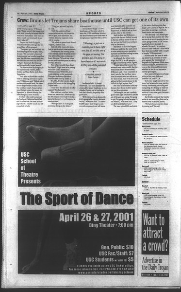 Daily Trojan, Vol. 142, No. 62, April 19, 2001