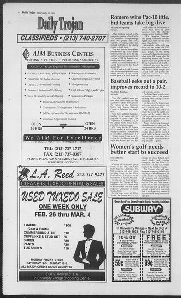 Daily Trojan, Vol. 127, No. 29, February 26, 1996