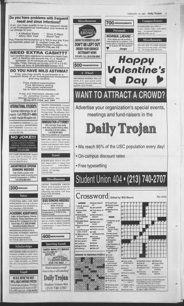 Daily Trojan, Vol. 130, No. 25, February 14, 1997