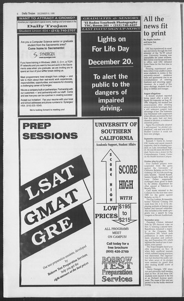 Daily Trojan, Vol. 129, No. 66, December 06, 1996