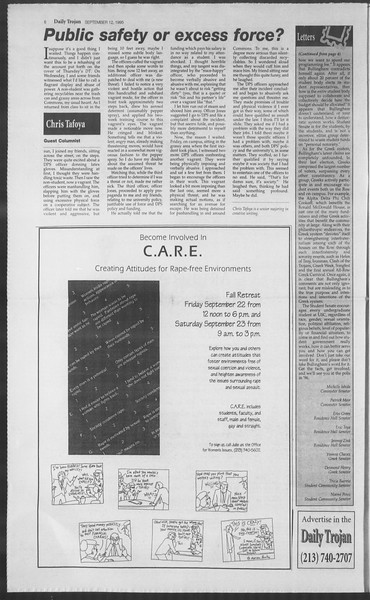 Daily Trojan, Vol. 126, No. 8, September 12, 1995