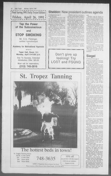 Daily Trojan, Vol. 114, No. 54, April 08, 1991