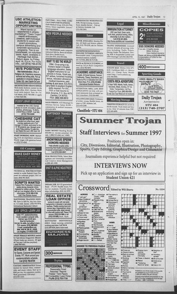 Daily Trojan, Vol. 130, No. 58, April 15, 1997