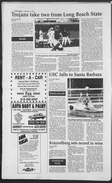 Daily Trojan, Vol. 130, No. 21, February 10, 1997