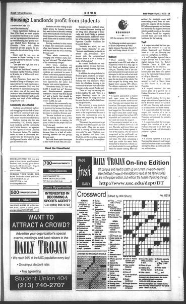 Daily Trojan, Vol. 142, No. 49, April 02, 2001