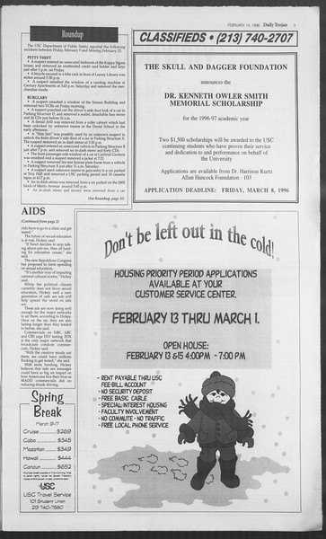Daily Trojan, Vol. 127, No. 23, February 14, 1996