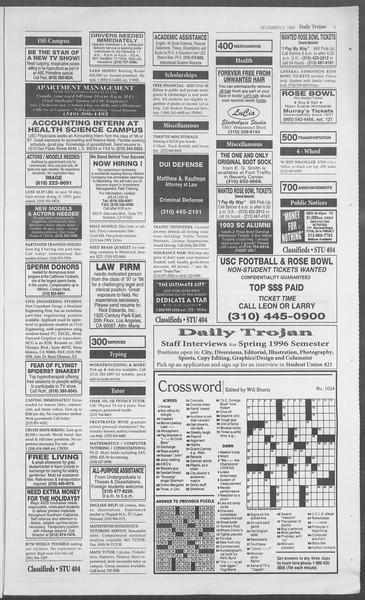 Daily Trojan, Vol. 126, No. 63, December 05, 1995