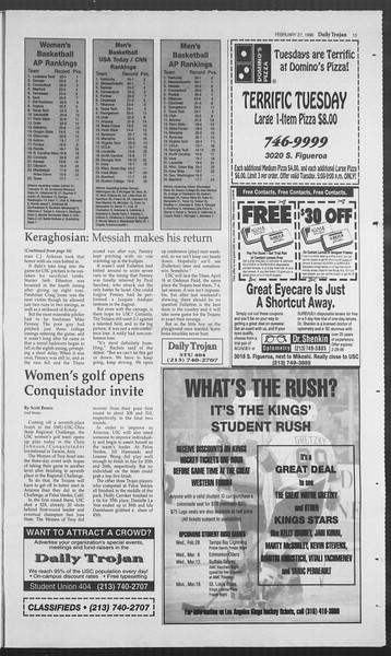Daily Trojan, Vol. 127, No. 30, February 27, 1996