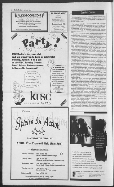 Daily Trojan, Vol. 130, No. 49, April 02, 1997