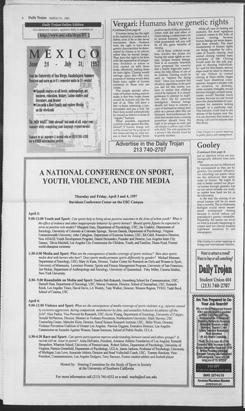 Daily Trojan, Vol. 130, No. 47, March 31, 1997