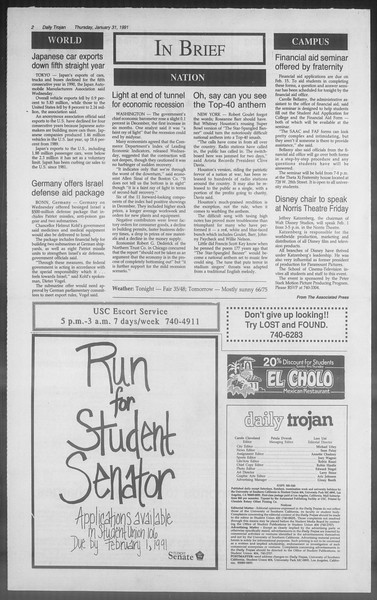 Daily Trojan, Vol. 114, No. 15, January 31, 1991