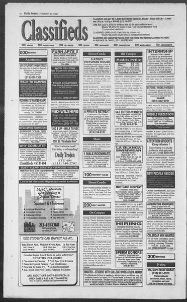 Daily Trojan, Vol. 127, No. 26, February 21, 1996