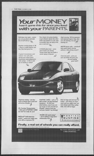 Daily Trojan, Vol. 126, No. 27, October 10, 1995