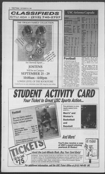 Daily Trojan, Vol. 126, No. 17, September 25, 1995