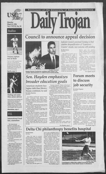 Daily Trojan, Vol. 127, No. 34, March 04, 1996