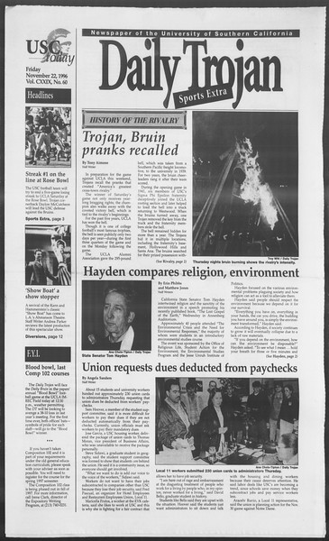 Daily Trojan, Vol. 129, No. 60, November 22, 1996