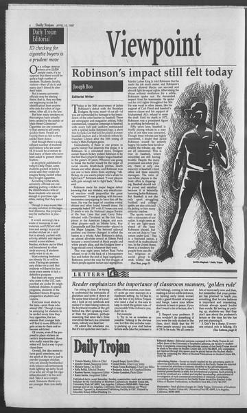 Daily Trojan, Vol. 130, No. 58, April 15, 1997