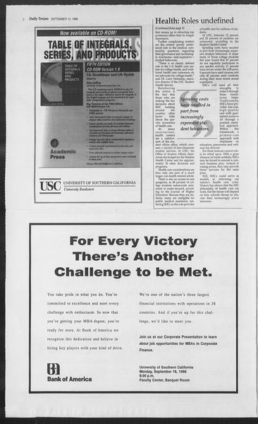 Daily Trojan, Vol. 129, No. 10, September 12, 1996