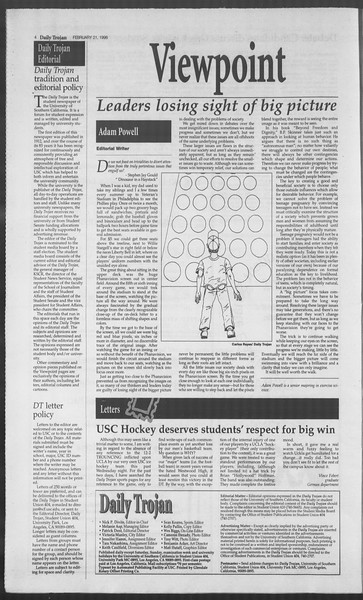 Daily Trojan, Vol. 127, No. 26, February 21, 1996