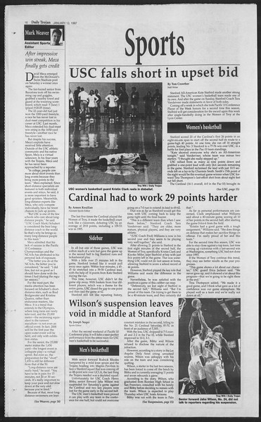 Daily Trojan, Vol. 130, No. 3, January 13, 1997