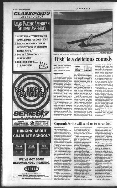 Daily Trojan, Vol. 142, No. 53, April 06, 2001