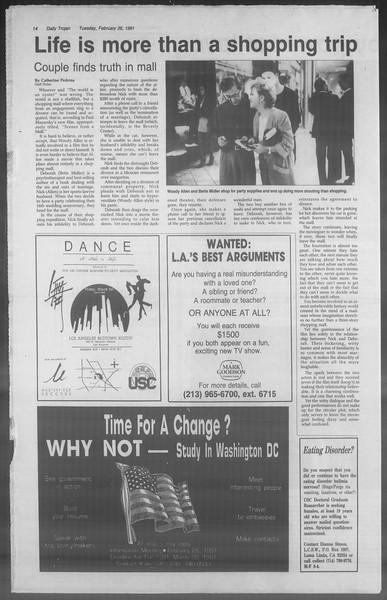 Daily Trojan, Vol. 114, No. 31, February 26, 1991