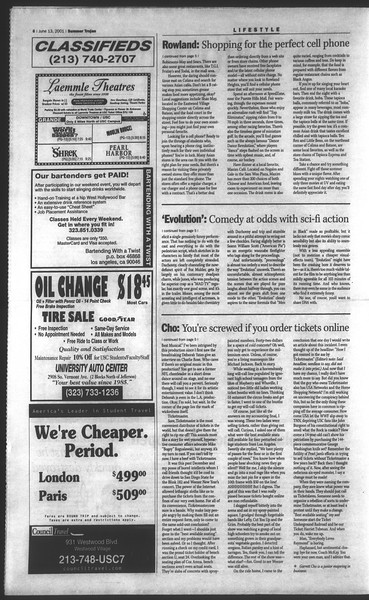 Daily Trojan, Vol. 143, No. 4, June 13, 2001