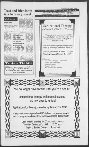 Daily Trojan, Vol. 129, No. 63, December 03, 1996
