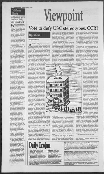 Daily Trojan, Vol. 127, No. 29, February 26, 1996