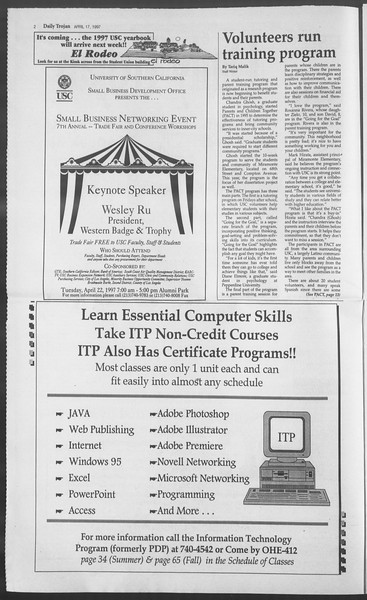 Daily Trojan, Vol. 130, No. 60, April 17, 1997