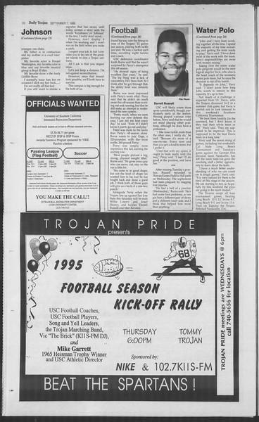 Daily Trojan, Vol. 126, No. 5, September 07, 1995