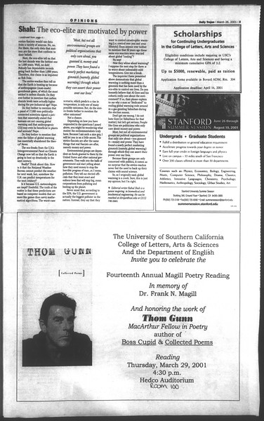 Daily Trojan, Vol. 142, No. 44, March 26, 2001