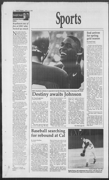 Daily Trojan, Vol. 127, No. 62, April 19, 1996