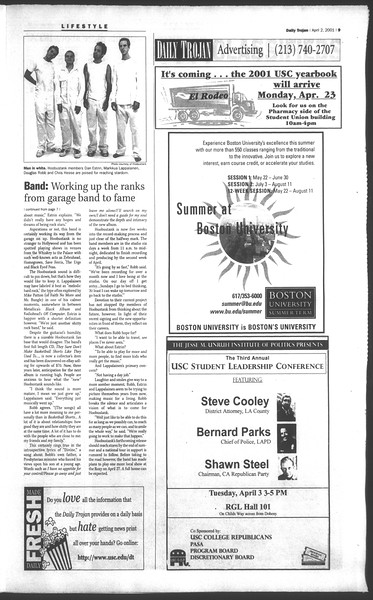 Daily Trojan, Vol. 142, No. 49, April 02, 2001