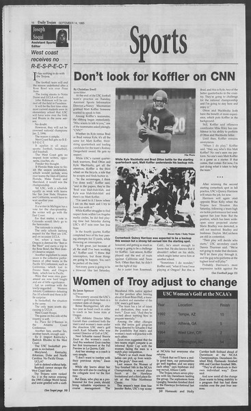 Daily Trojan, Vol. 126, No. 10, September 14, 1995