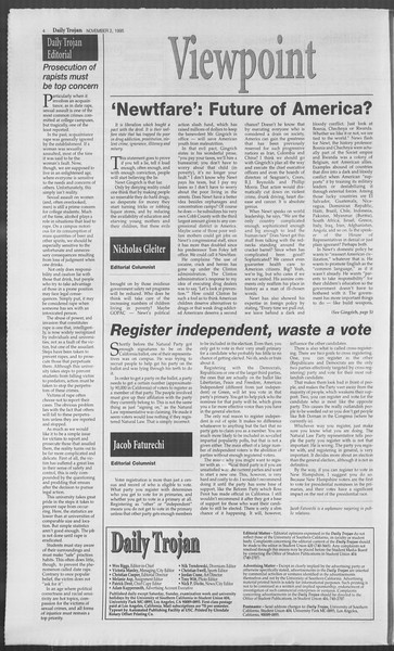 Daily Trojan, Vol. 126, No. 44, November 02, 1995