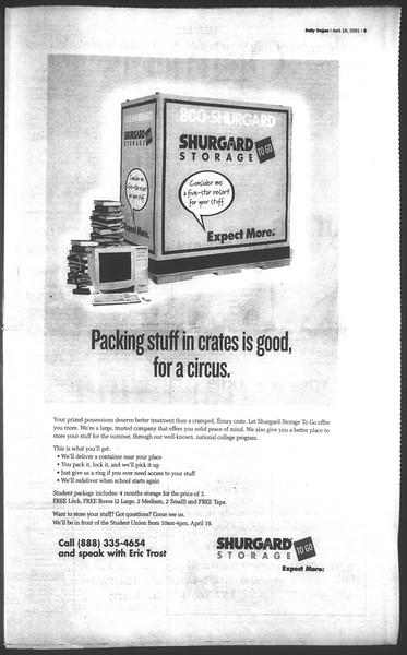 Daily Trojan, Vol. 142, No. 62, April 19, 2001