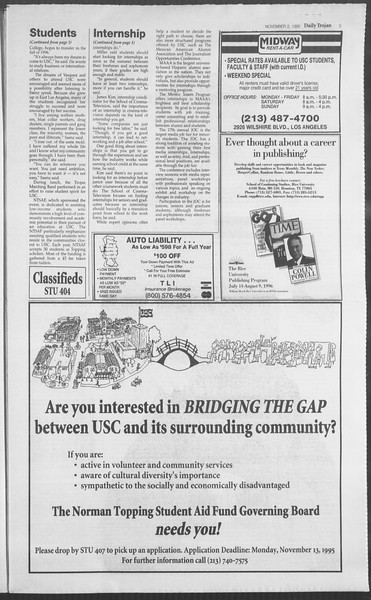 Daily Trojan, Vol. 126, No. 44, November 02, 1995