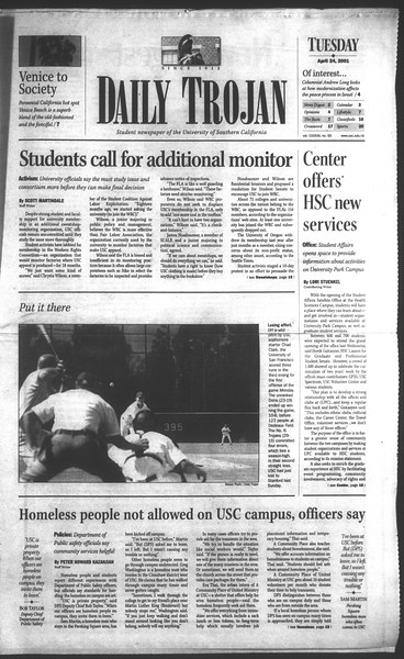 Daily Trojan, Vol. 142, No. 65, April 24, 2001