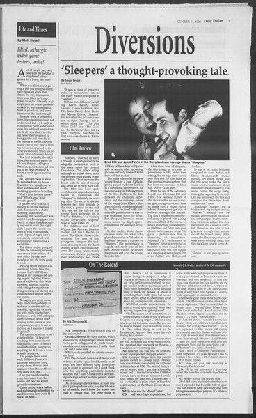 Daily Trojan, Vol. 129, No. 37, October 21, 1996