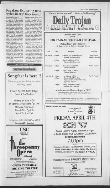 Daily Trojan, Vol. 130, No. 49, April 02, 1997