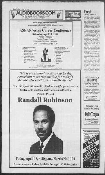 Daily Trojan, Vol. 127, No. 61, April 18, 1996