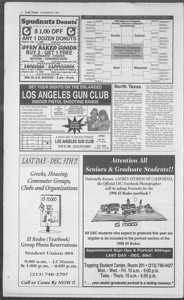 Daily Trojan, Vol. 126, No. 60, November 30, 1995