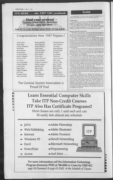 Daily Trojan, Vol. 130, No. 62, April 21, 1997