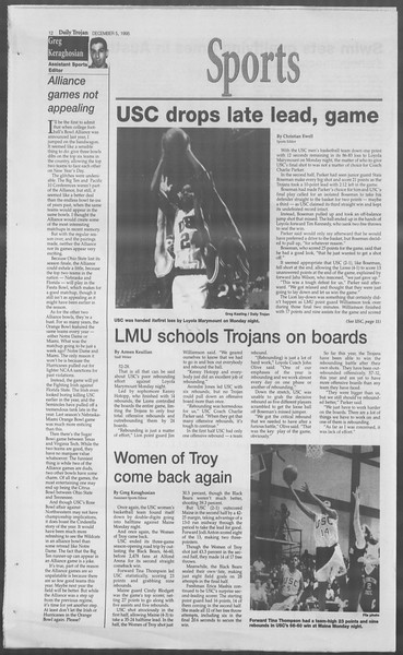 Daily Trojan, Vol. 126, No. 63, December 05, 1995