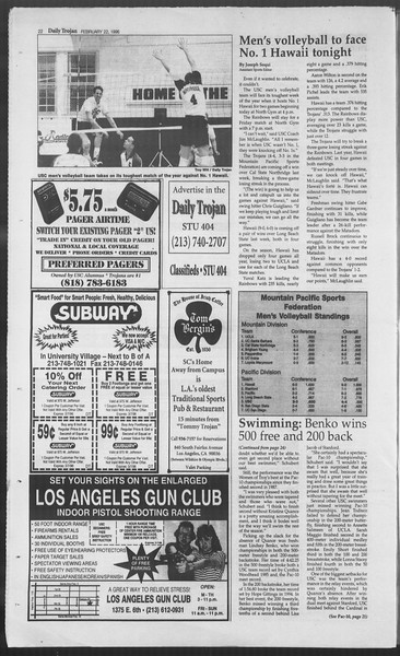 Daily Trojan, Vol. 127, No. 27, February 22, 1996