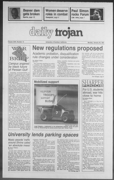 Daily Trojan, Vol. 114, No. 12, January 28, 1991