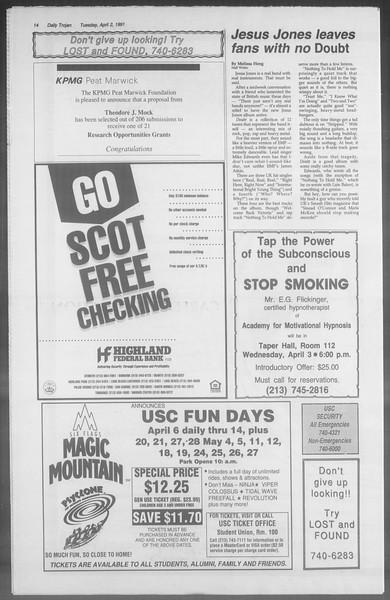 Daily Trojan, Vol. 114, No. 50, April 02, 1991